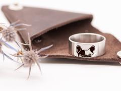 Engraved Ring Pet Lover Jewelry Dainty Ring 8 mm Personalized Jewelry Unique Gift Bulldog Design Custom Stainless Steel Ring in Leather Case