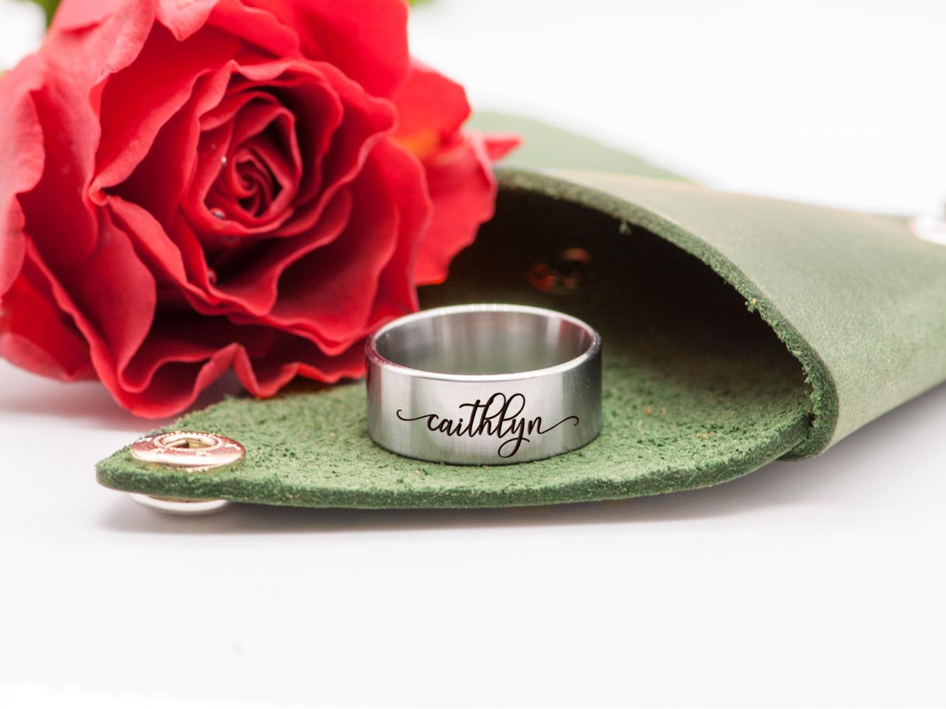 Custom Flower Ring Personalized Jewelry Gift for Her Women Dainty Ring Unique Stainless Steel Ring 8mm in Leather Case Engagement Gift